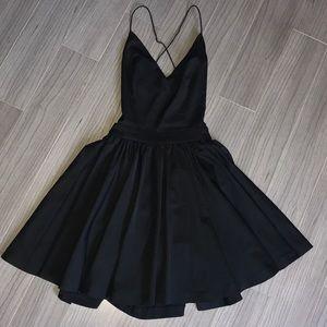 DOUBLE ZERO Black CrissCross Backless Skater Dress